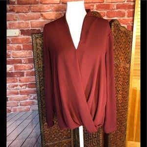 Flattering burgundy wrap blouse